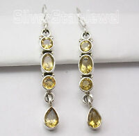 925 STERLING Silver Facetted CITRINE Multi Gemstone LONG Dangle Earrings 1.9""