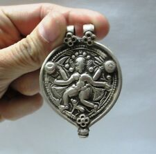 ANTIQUE INDIAN ETHNIC TRIBAL OLD SILVER AMULET PENDANT HINDU GODDESS RICH PATINA