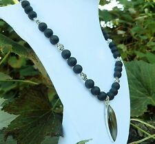 """19"""" Handmade Black Frosted Necklace Sterling Silver Black Gray Agate Pendant"""