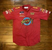 Race Used Ted Musgrave 16 The Family Channel Racing Pit Crew Shirt Men XL NASCAR