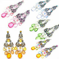 3in PINK GREEN BLUE GOLD SILVER CHANDELIER CRYSTAL ACRYLIC PIERCED EARRINGS NEW