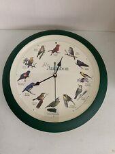 "Audubon 13"" Singing Bird Clock w/ 12 Most Popular North American Song Birds #dm"