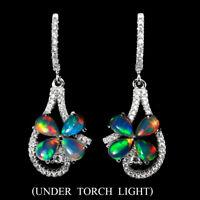 Unheated Pear Fire Opal Rainbow Full Flash 6x4mm Cz 925 Sterling Silver Earrings