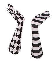 HARLEQUIN CLOWN OPERA GLOVES Long Black & White Stripes Diamonds Court Jester