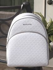 MICHAEL KORS ABBEY LARGE BACKPACK MK SIGNATURE WHITE GREY BAG  $468 NEW