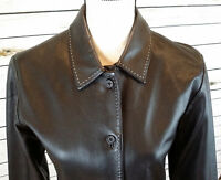 WHBM Womens Size M Black Soft Leather Button Classic Blazer Jacket Coat EUC.