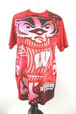 Uw University of Wisconsin Shirt size L Badgers Uw Full Graphic Silky Red Jersey