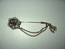 Vintage Signed SARAH COVENTRY Goldtone Pearl & Red Crystal Stick Pin Brooch