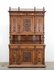 Large Antique French Renaissance Carved Sideboard Buffet Cabinet