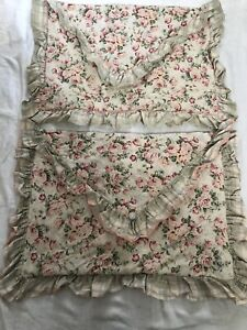 2 Shabby Chic Floral Cottage Pink Roses Standard Pillow Shams Ruffled Cotton