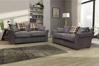 New Large Elise 3+2 Sofa Scatter Back in Grey Lisbon Tweed Fabric
