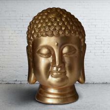 More details for large ceramic gold leaf gilded buddha head bust