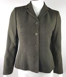 Ann Taylor Petites Womens 2P 2 Petite Olive Green 100% Wool Button Front Blazer