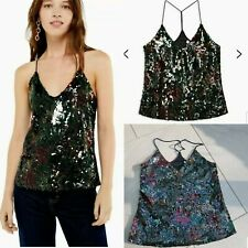 Topshop Sequin Top cami New Size 8 black floral vintage style £35 party Festival