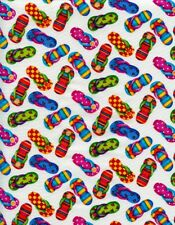 Nautical Fabric - Beach Sandals Flip-Flops White - Timeless Treasures YARD