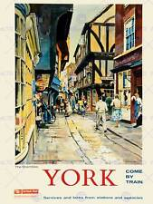 YORK ENGLAND UK RAIL SHAMBLES MEDIEVAL BUTCHER STREET ART PRINT POSTER BB10035