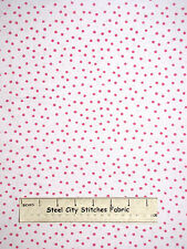 Loralie Harris On The Mend Pink Dinky Dots Cotton Fabric 691-921-B White YARD