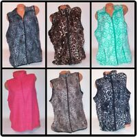 French Connection Womens Sweater Vest Animal Print Zip Up Sleeveless Pockets