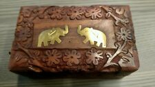 2 Brass Elephants Decorative Wooden Box