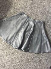 Ribbon Leather Look Skater Skirt Size 8 Black