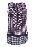 Tommy Hilfiger Women's Bow-Front Houndstooth Blouse