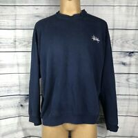 Vintage Stussy Men's Crewneck Pullover Sweater Navy Blue XL X-Large Used