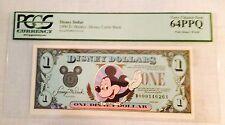 1990D $1 Mickey Disney Dollar, Graded By PCGS Very Choice New 64PPQ, D00014626A