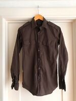 Ralph Lauren Black Label Dark Brown Epaulet Military RRL Stretch Shirt Small 36""