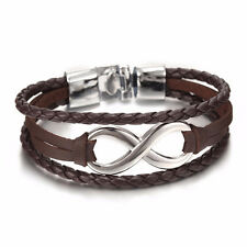 Infinity Bracelets Hand Braided Charms Leather Rope Bangles Bracelet Women Rsuj Black