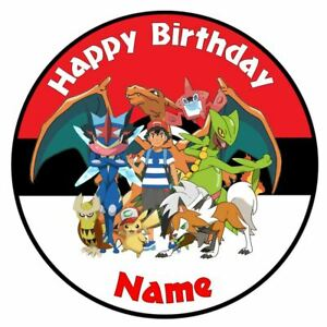 Pokemon Personalised Edible Icing Cake Topper Square Round Ribbon