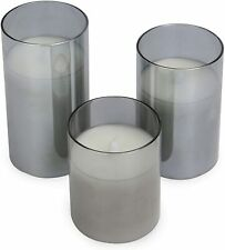 Flameless Candles Battery Operated Pillar Flickering LED Glass Candle Gift Sets