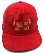 ALBINA ASPHALT (WA) vintage red corduroy adjustable cap / hat