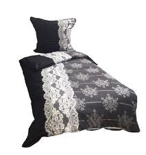 4 tlg. Bettwäsche Mikrofaser 135x200 cm schwarz grau barock klassisch Doppelpack