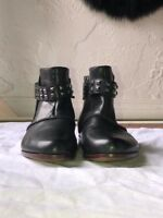 Earthies Black Leather Ankle Boots Buckles and Studs Size 8 Worn only 1 time