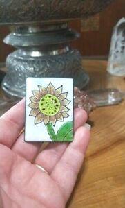 Anita Silverstein Copper Enamel SUNFLOWER  pin, brooch , pendant