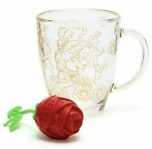 Disney Parks Beauty and the Beast Glass Mug And Rose Tea Infuser Gift 2021 NIB