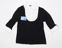 Debenhams Womens Size 14 Textured Cotton Blend Black Blouse (Regular)
