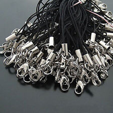 100 Pcs DIY Black Cell Phone Lanyard Cords Strap Lariat Mobile Lobster Clasp