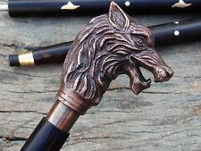 Brass Wolf Handle Victorian Designer Cane antique Wooden Walking Stick Gift