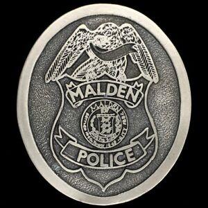 Vintage 70s Malden Massachusetts Police Department Officer NOS Belt Buckle