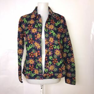 ANALOGY Size Small Floral Pattern Button Up LS Denim Jacket