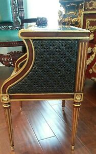Maitland Smith French Gold Side Desk End Table Wooden Wicker Woven Furniture