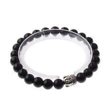 8MM Fashion Men's Sliver Buddha Head with Obsidian Beaded Stretch Bracelet