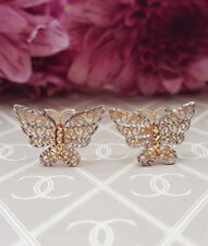 9ct Yellow Gold Filigree Butterfly Stud Earrings