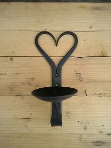 Hand Forged Candle Wall Sconce, Heart Design 8 inch Tall