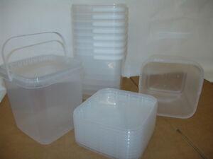 Kunststoffeimer transparent mit Deckel verschiedene Größen, lebensmittelecht