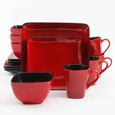 Better Homes and Gardens Rave Square Plate Dinnerware Set Kitchen Red 16 Piece
