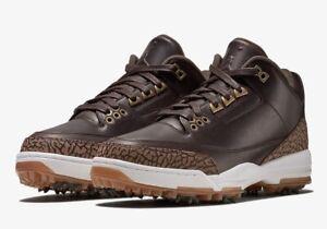 NIB RARE NIKE Jordan 3 Brown Golf Shoes Mens Size 8 AO8952-200 Tiger