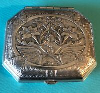Antique 1920s Karess Woodworth Art Nouveau Silver Plated Compact With Mirror