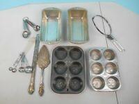Lot of Vintage Kitchen Cooking Items- Pyrex, Nu-Brite, Oneida, Bake King